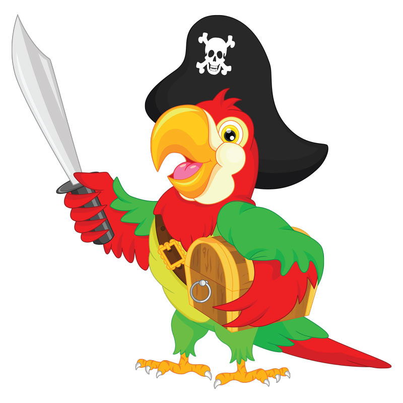Sticker pirate un perroquet et son tr sor stickers animaux oiseaux ambiance sticker - Dessin de perroquet en couleur ...