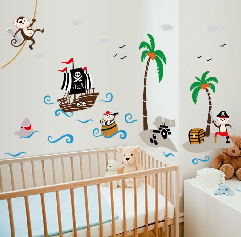 Sticker pirates et bateau stickers stickers animaux animaux de la jungle ambiance sticker - Chambre enfant pirate ...