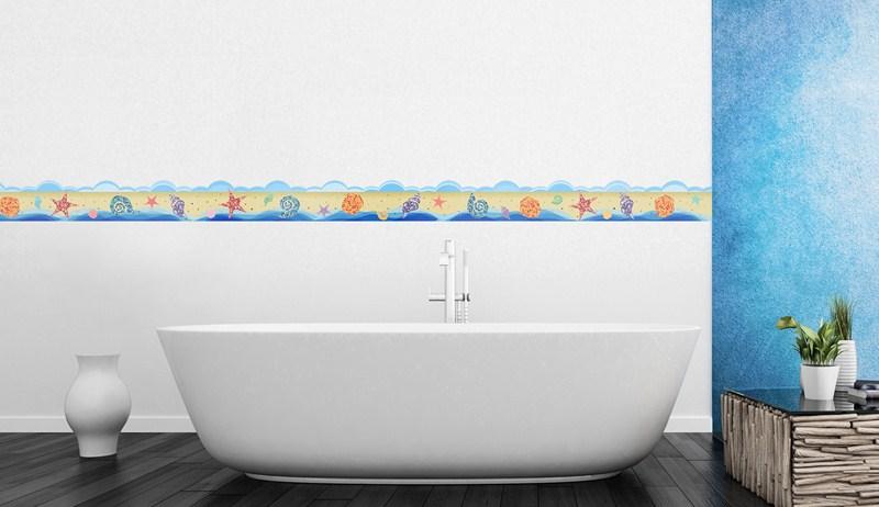 Stickers muraux pour salle de bain sticker plage mer et coquillages en frise ambiance - Frise salle de bain autocollante ...