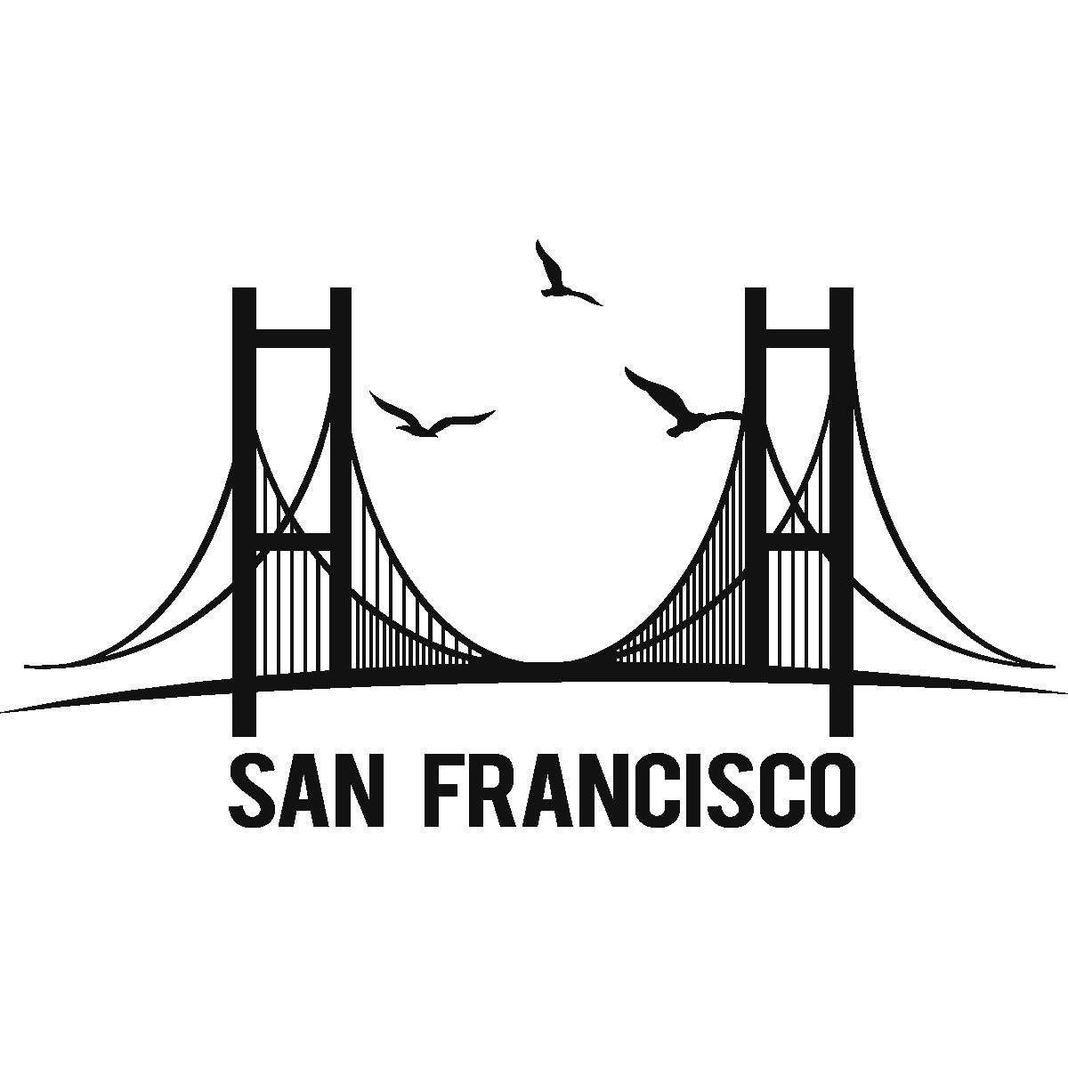 Dessin Du Pont De San Francisco stickers muraux pays et villes - sticker pont de san francisco