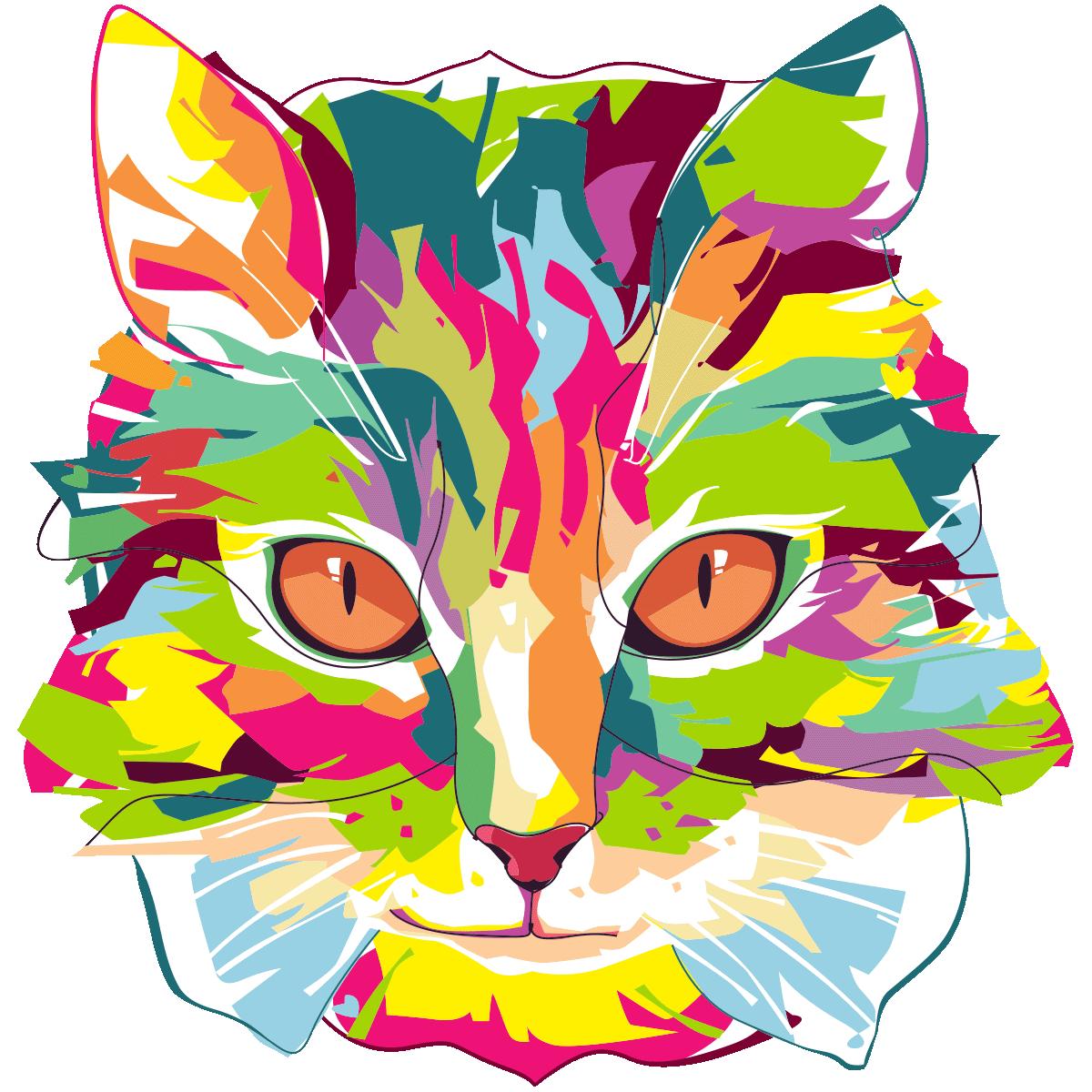 Sticker pop art chat du pays imaginaire - Stickers