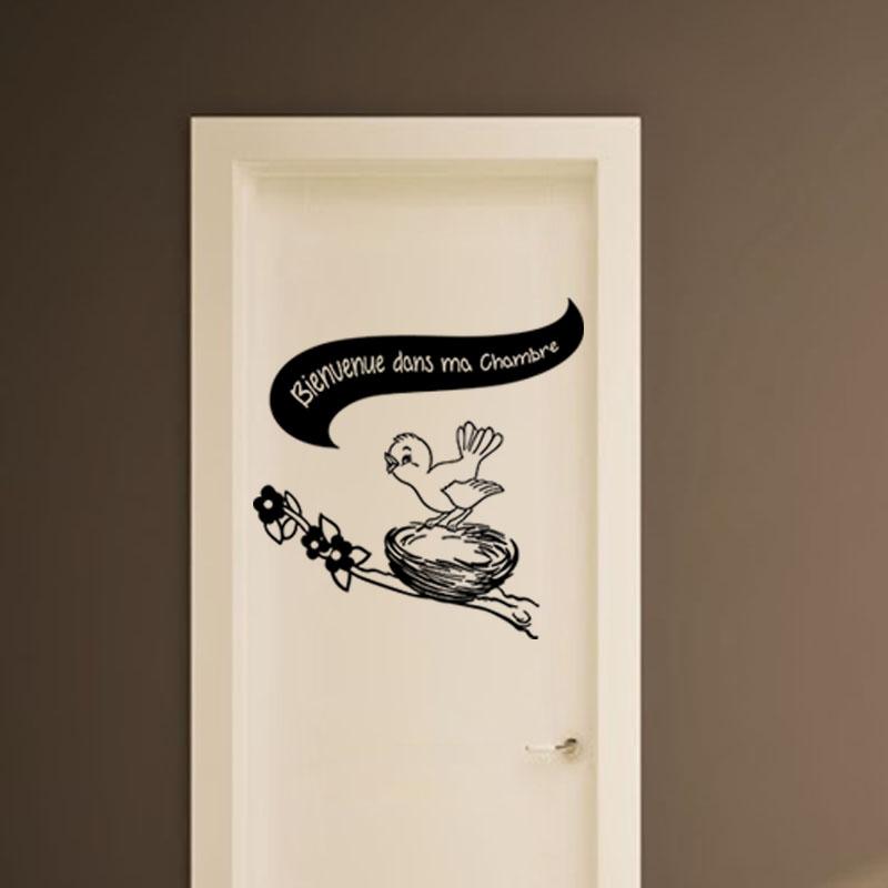 sticker porte chambre enfant bienvenue stickers chambre ado fille ambiance sticker. Black Bedroom Furniture Sets. Home Design Ideas