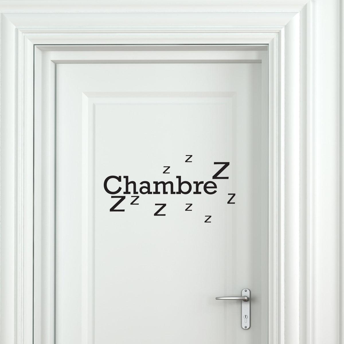 sticker porte chambre zzz stickers chambre texte. Black Bedroom Furniture Sets. Home Design Ideas