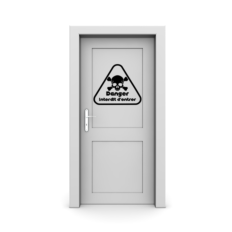 Sticker porte danger interdit d 39 entrer stickers stickers chambre ado gar on ambiance sticker - Decoration porte de chambre ...