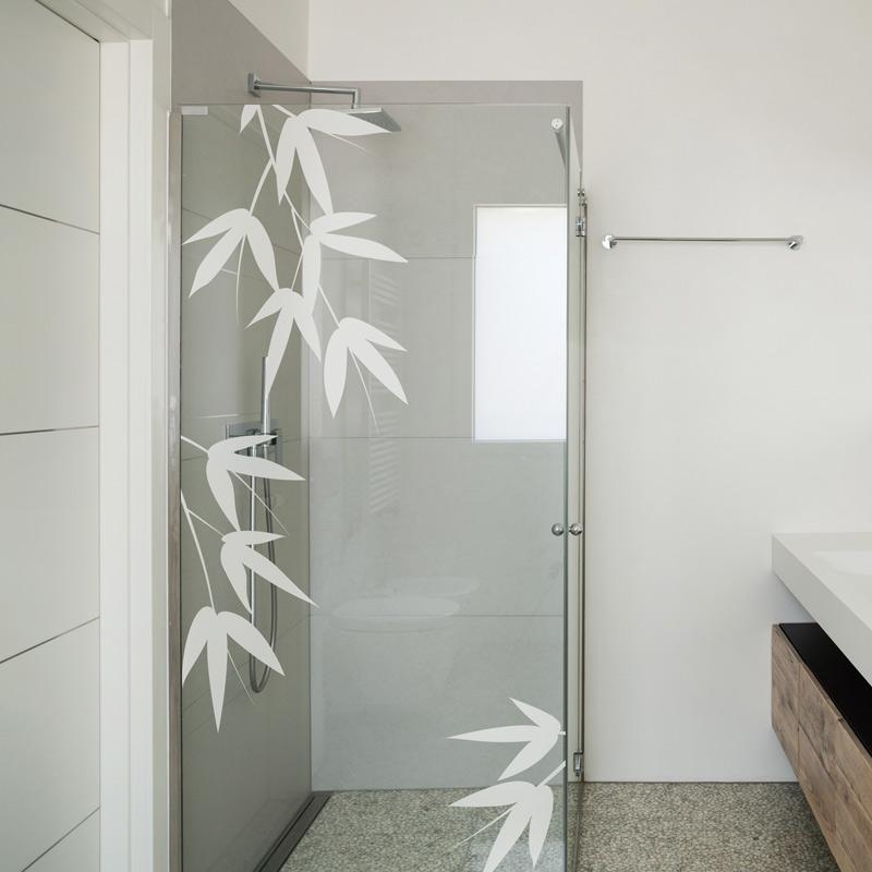 sticker porte de douche feuilles de bambou stickers. Black Bedroom Furniture Sets. Home Design Ideas