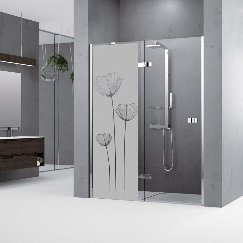 sticker porte de douche fleurs de pavot stickers. Black Bedroom Furniture Sets. Home Design Ideas