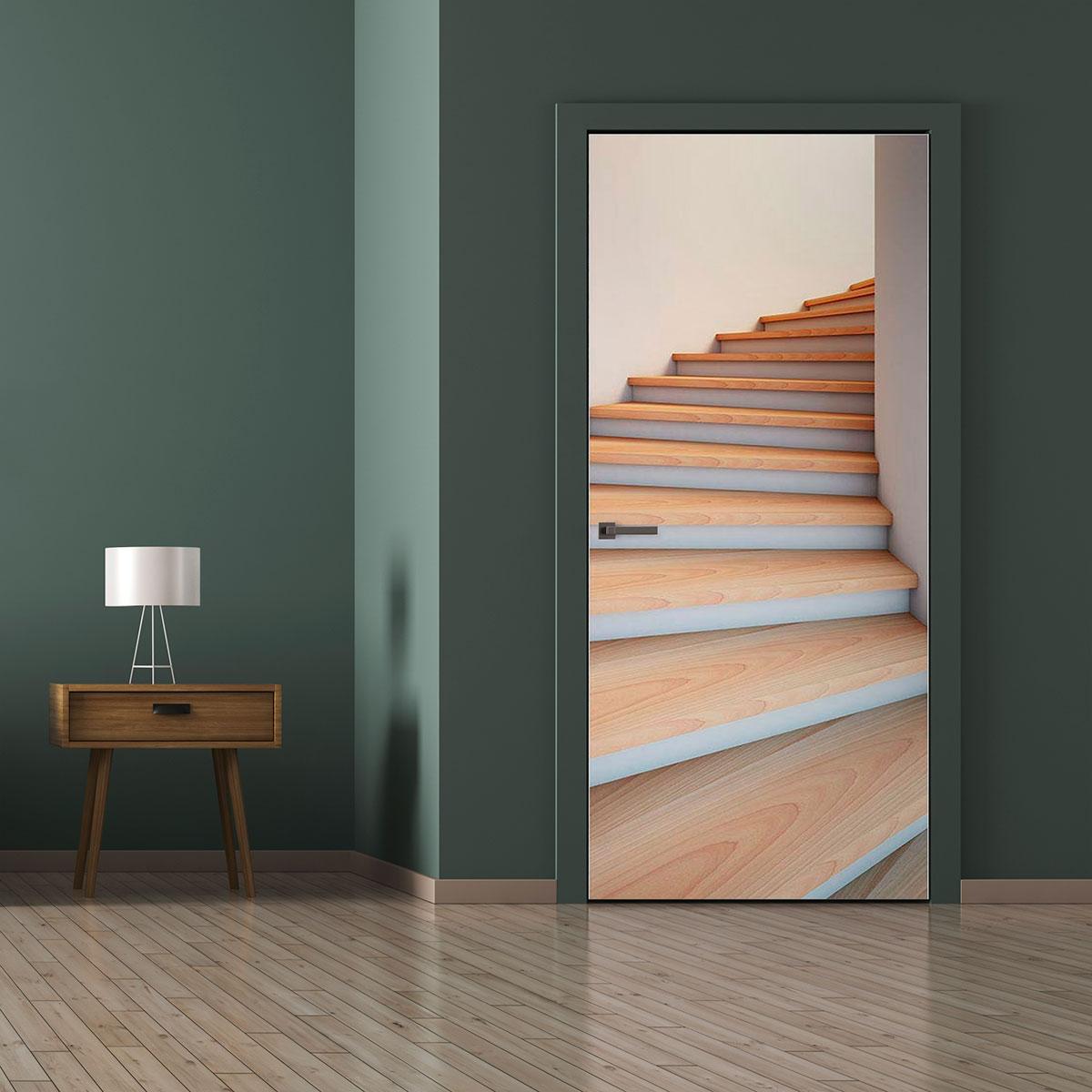 Papier Peint Trompe L Oeil Porte Placard sticker porte hall d'escaliers