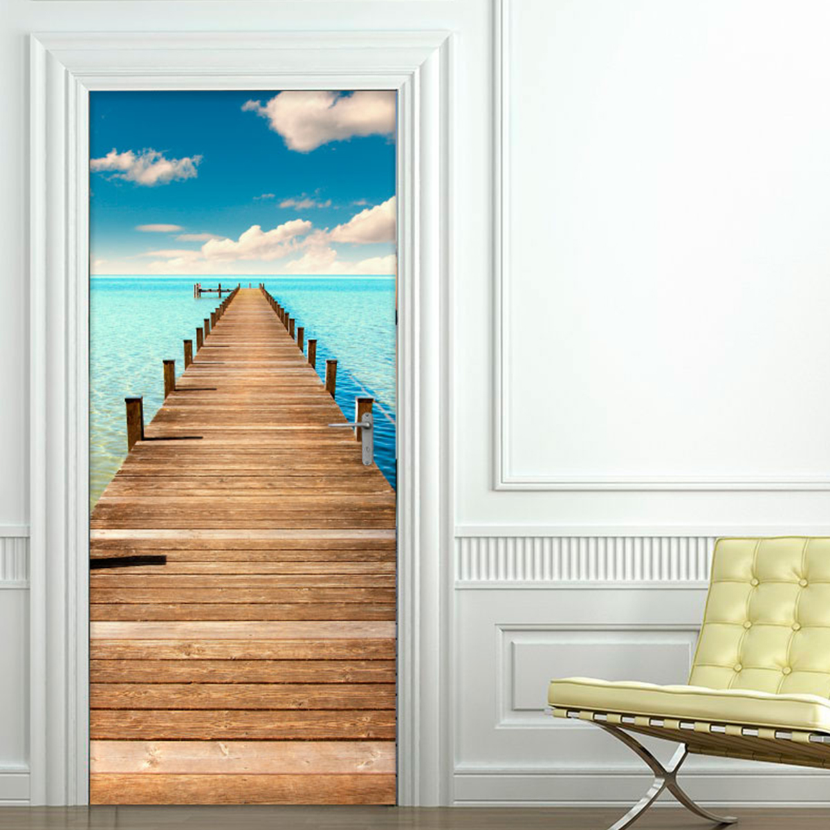 sticker porte long ponton sur la plage stickers. Black Bedroom Furniture Sets. Home Design Ideas
