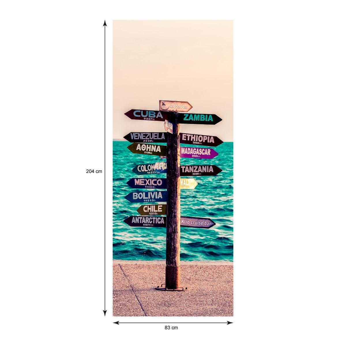 Sticker porte panneau en bord de mer pays du monde stickers stickers villes et voyages pays et - Stickers pour porte pas cher ...