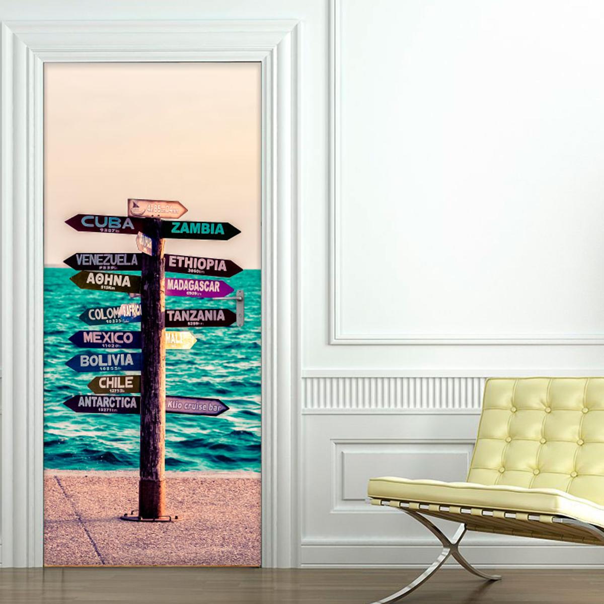 sticker porte panneau en bord de mer pays du monde. Black Bedroom Furniture Sets. Home Design Ideas