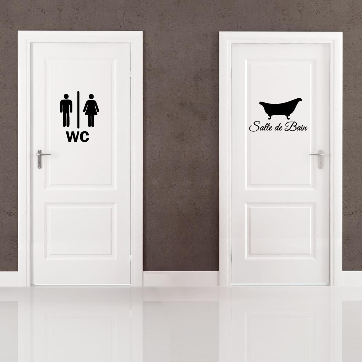 Sticker porte salle de bain et wc stickers salle de bain - Porte coulissante salle de bains ...