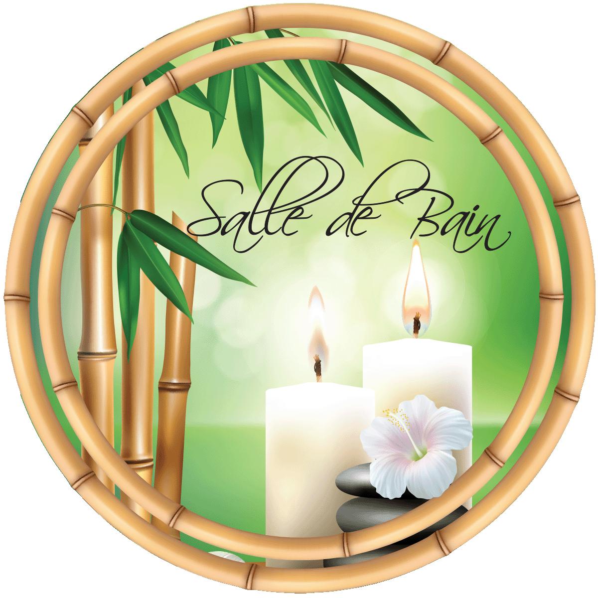Sticker porte salle de bain zen bamboo