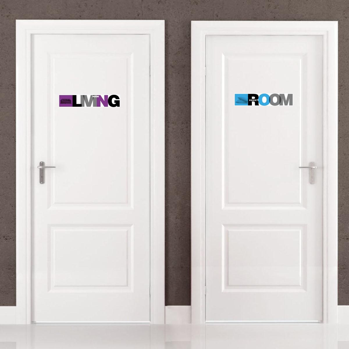 sticker porte signal tique de la maison en anglais. Black Bedroom Furniture Sets. Home Design Ideas