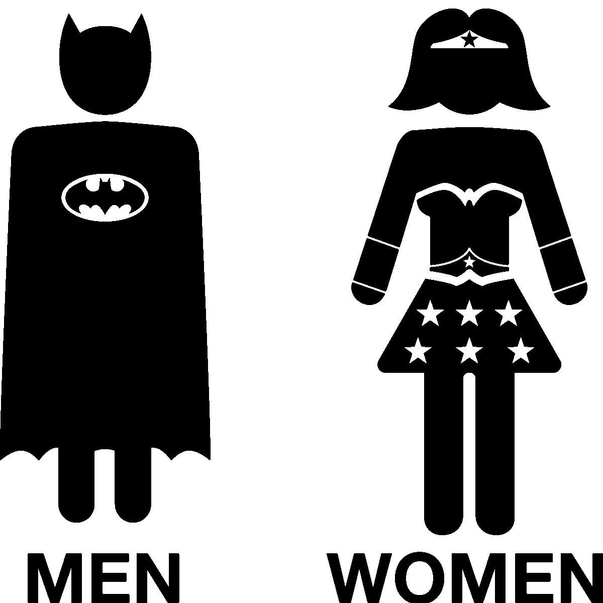 Sticker porte toilettes super h ro men super women stickers toilettes porte ambiance sticker - Image de super hero ...