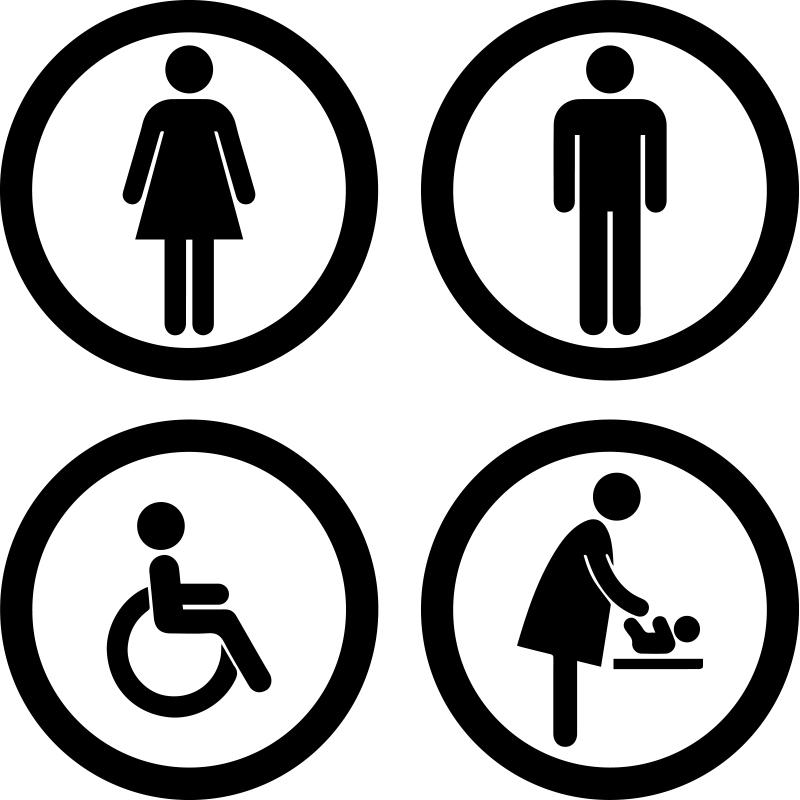 Sticker Porte Wc Homme Femme Handicapé Bébé Stickers Salle De