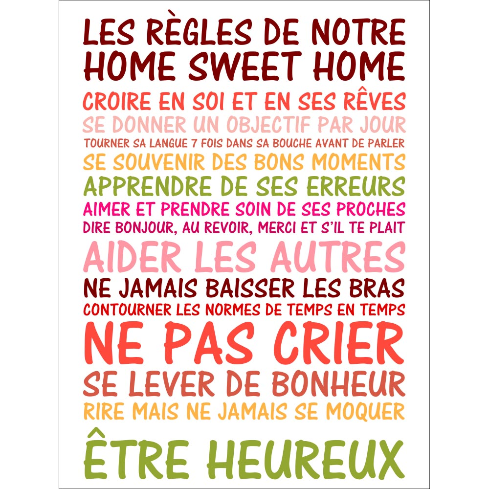 sticker poster citation les r gles de notre home sweet home stickers citations fran ais. Black Bedroom Furniture Sets. Home Design Ideas