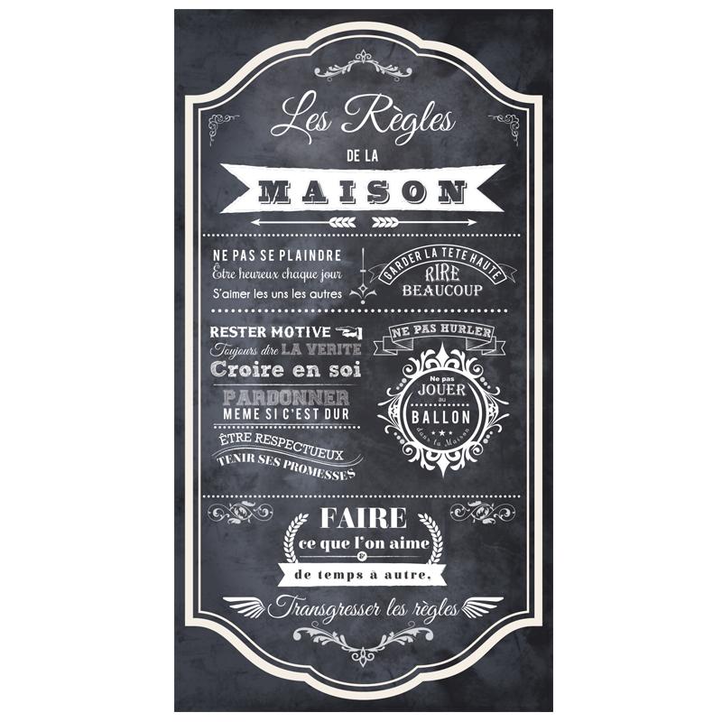 sticker poster les r gles de la maison style ardoise stickers citations fran ais ambiance. Black Bedroom Furniture Sets. Home Design Ideas