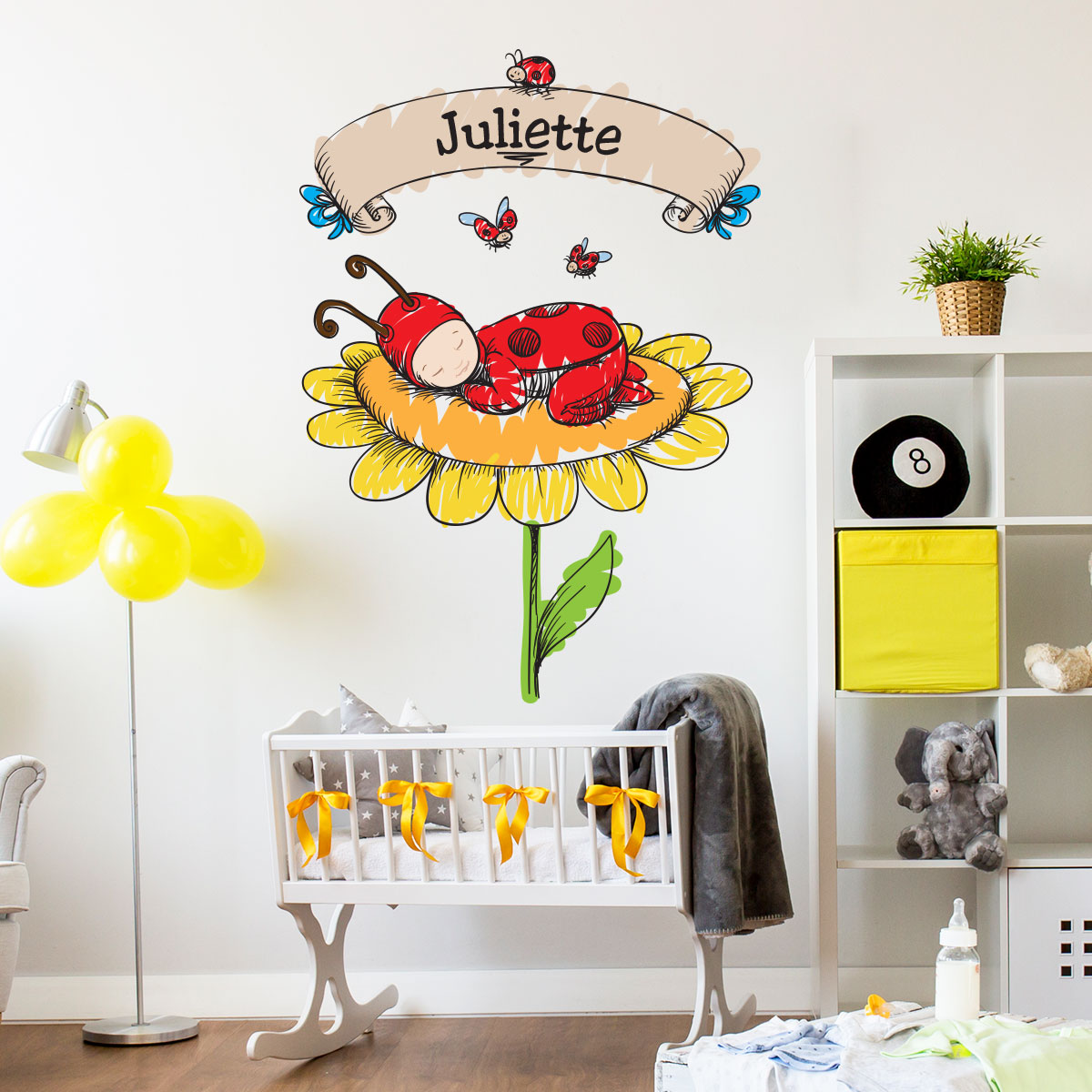 sticker pr nom personnalisable b b coccinelle stickers. Black Bedroom Furniture Sets. Home Design Ideas