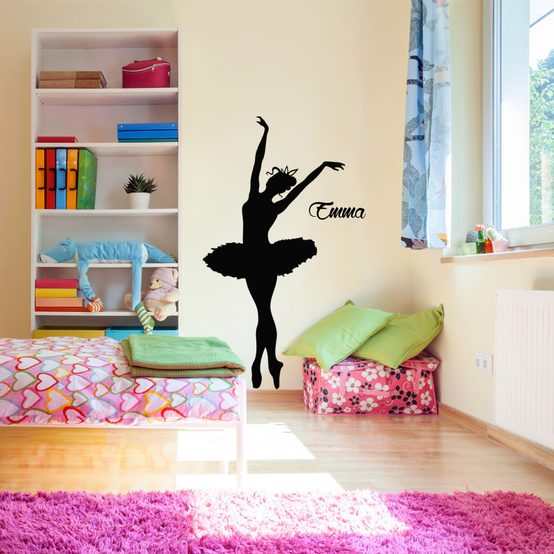 sticker pr nom personnalisable danseuse toile stickers. Black Bedroom Furniture Sets. Home Design Ideas