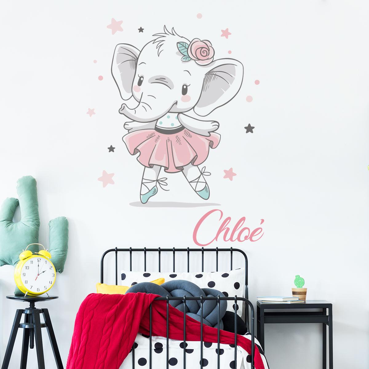 sticker pr nom personnalisable l phant ballerine. Black Bedroom Furniture Sets. Home Design Ideas