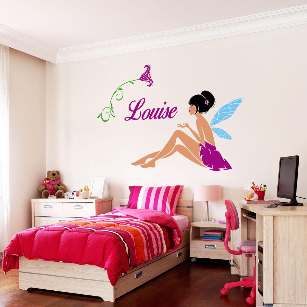sticker pr nom personnalisable f e bucolique stickers. Black Bedroom Furniture Sets. Home Design Ideas