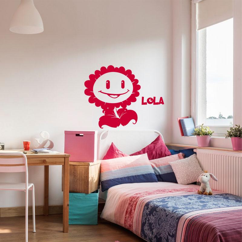 sticker pr nom personnalisable fleur souriante stickers. Black Bedroom Furniture Sets. Home Design Ideas