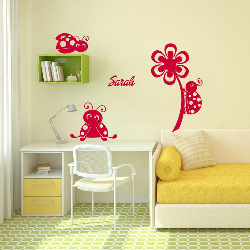 sticker pr nom personnalisable jolies petites coccinelles. Black Bedroom Furniture Sets. Home Design Ideas