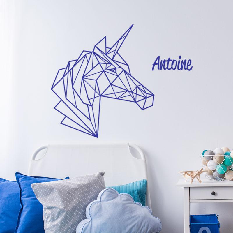 sticker pr nom personnalisable licorne en origami. Black Bedroom Furniture Sets. Home Design Ideas