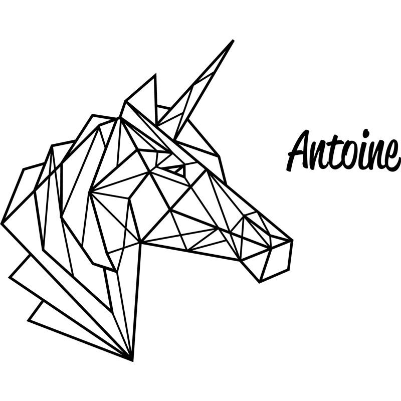 Sticker pr nom personnalisable licorne en origami texte - Dessin geometrique a colorier ...