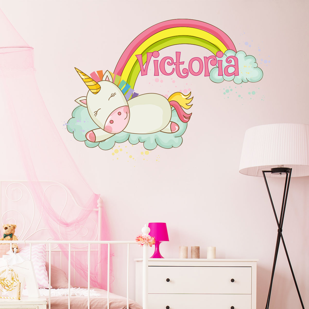 sticker pr nom personnalisable licorne fait dodo. Black Bedroom Furniture Sets. Home Design Ideas
