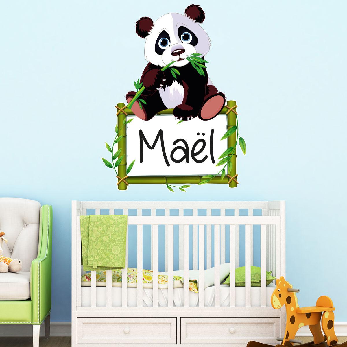 Vinilo Nombres Personalizable panda y su bambú