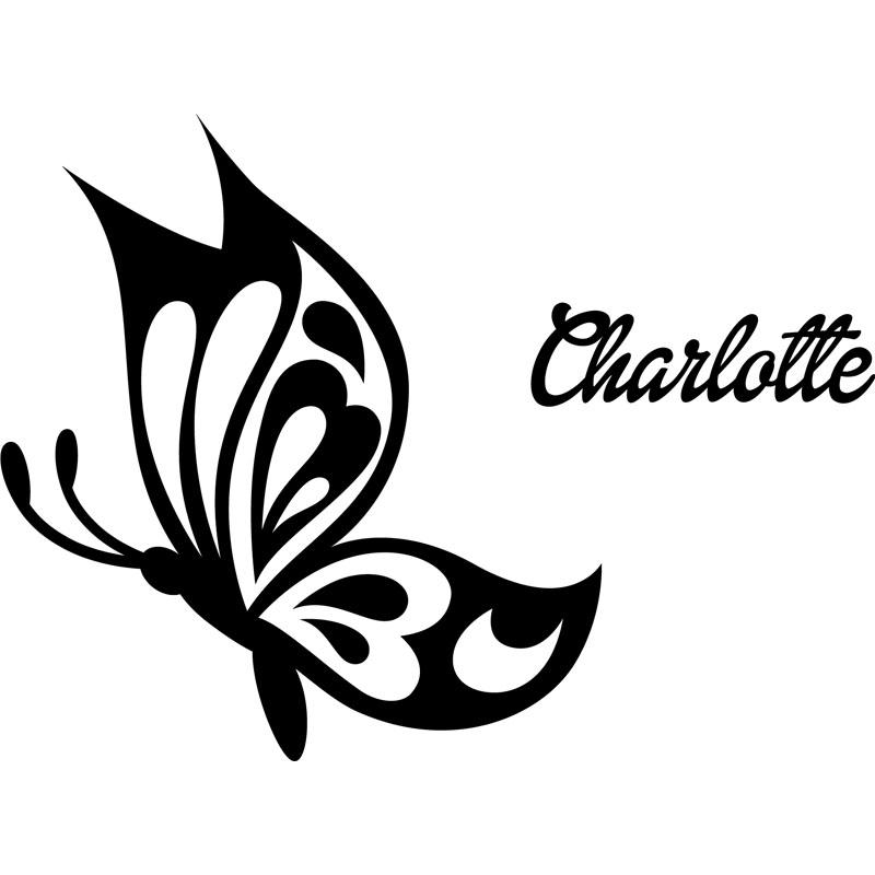 Modele Porte Salon : Sticker prénom personnalisable papillon profil chambre