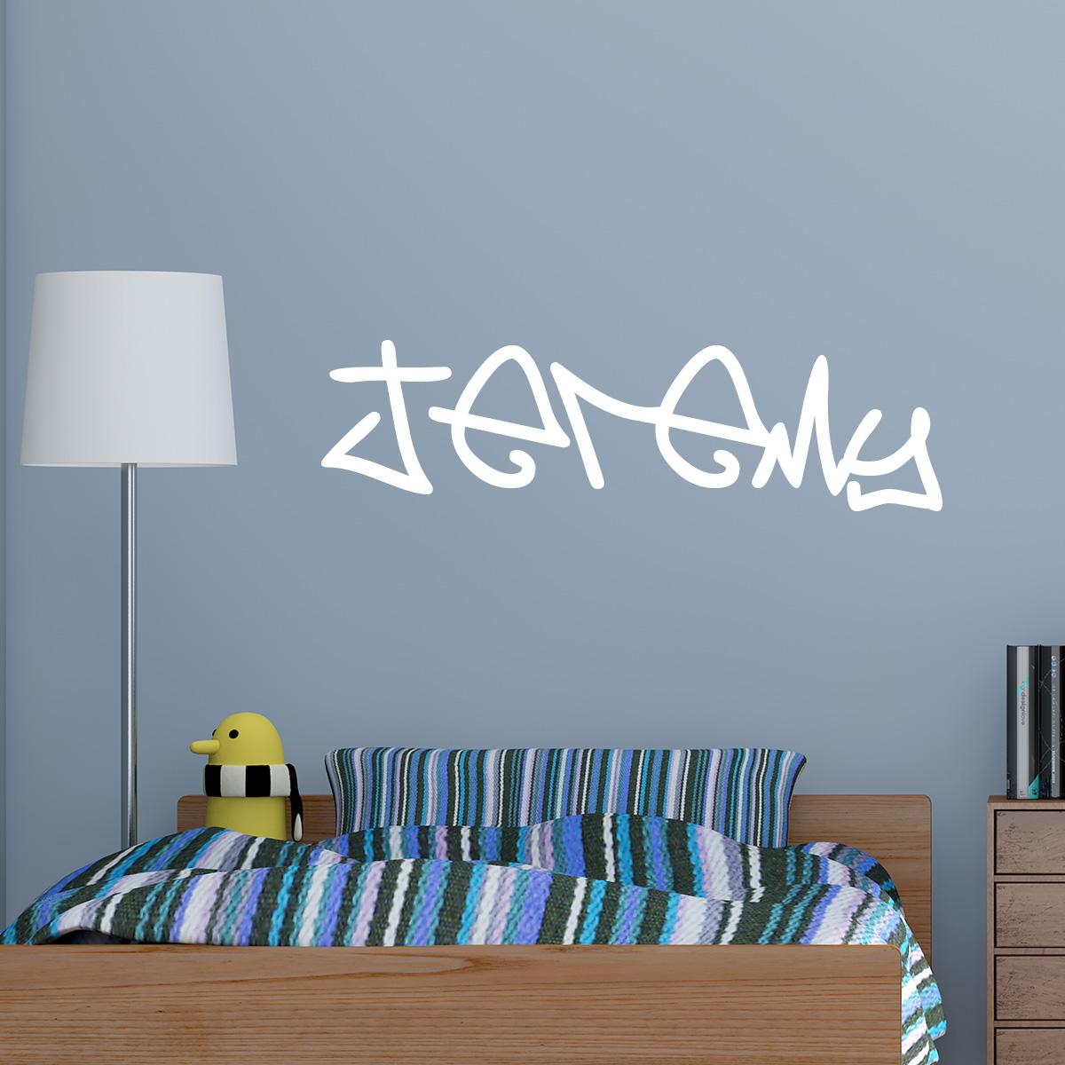 sticker pr nom personnalisable tag manuscrit stickers. Black Bedroom Furniture Sets. Home Design Ideas
