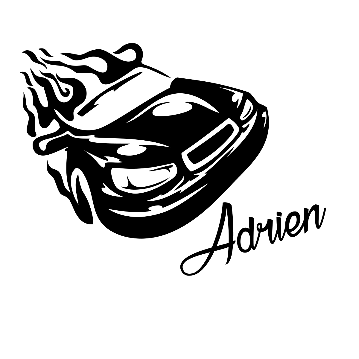 Sticker prenom personnalisable voiture de course ambiance sticker name si 0768 png