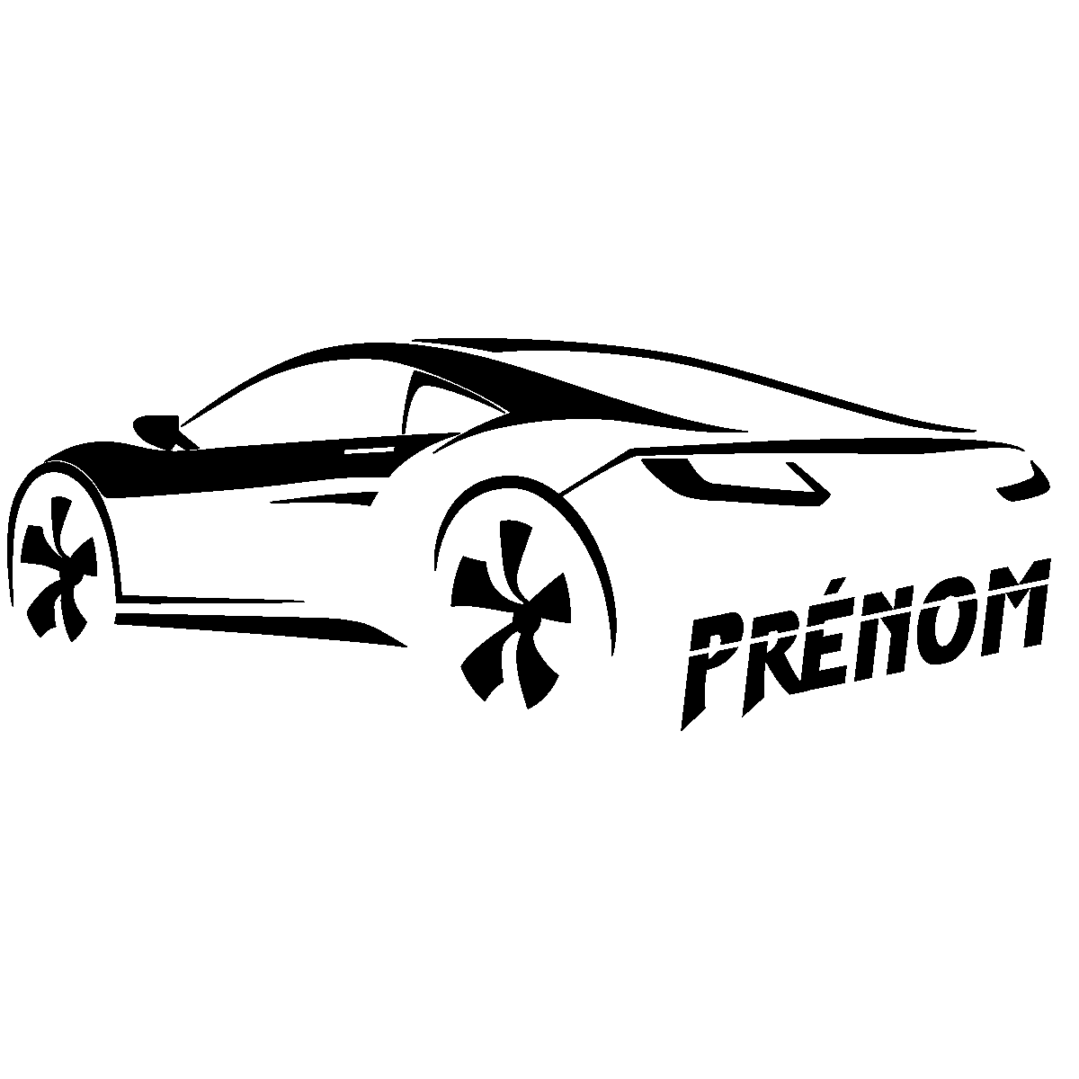 Sticker prenom personnalisable voiture de luxe sportive ambiance sticker name sand 053 png
