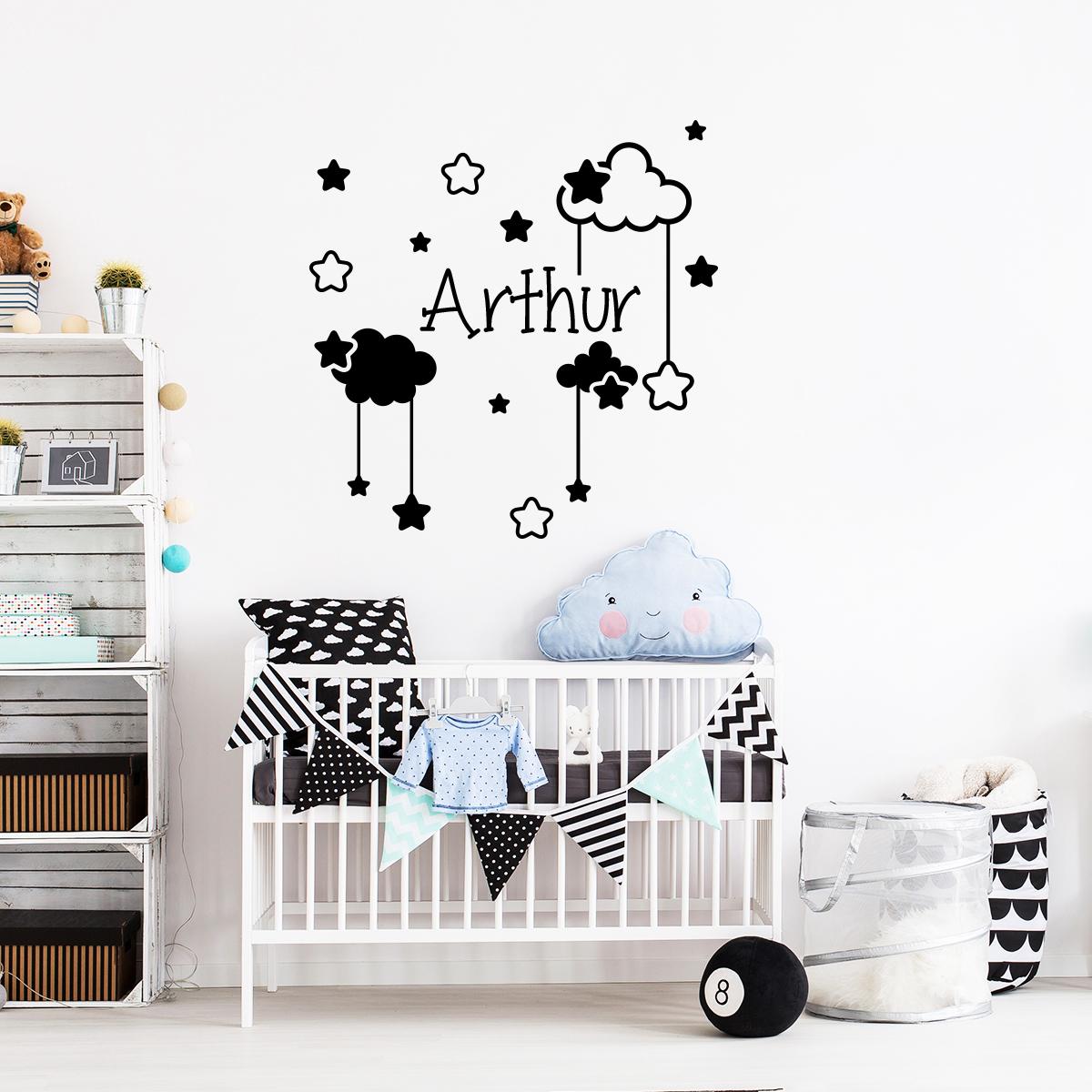 Sticker pr nom personnalis ciel toil entre les nuages chambre enfants pr noms ambiance - Stickers prenom porte chambre ...