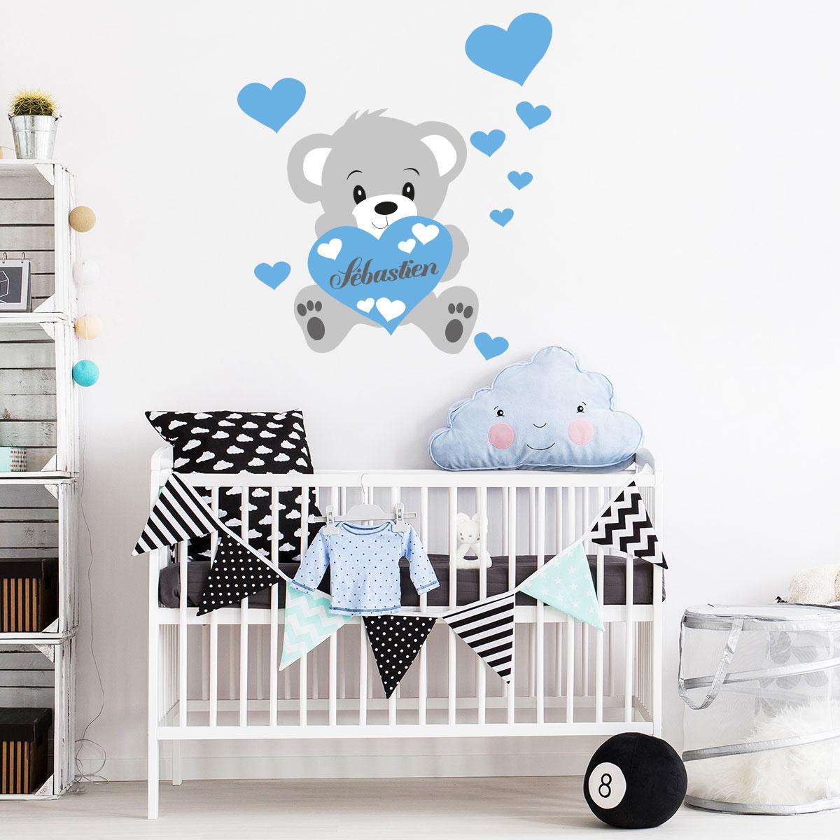 sticker pr nom personnalis ourson bleu stickers chambre. Black Bedroom Furniture Sets. Home Design Ideas