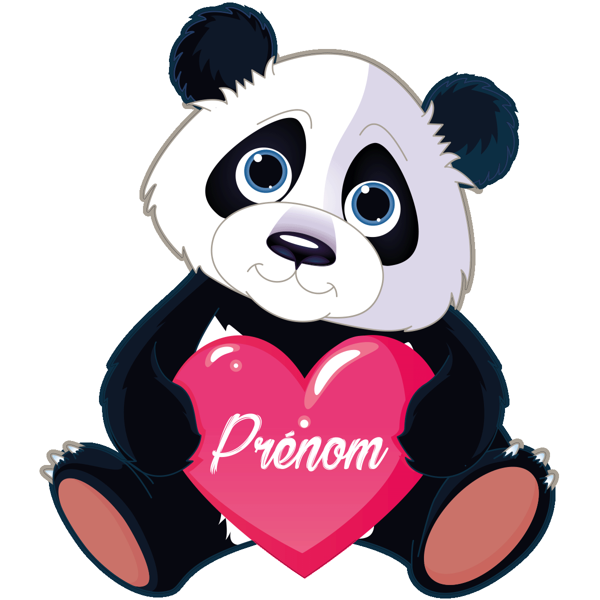 Sticker pr nom personnalis panda amoureux stickers filles coeurs ambiance sticker - Coloriage de panda kawaii ...