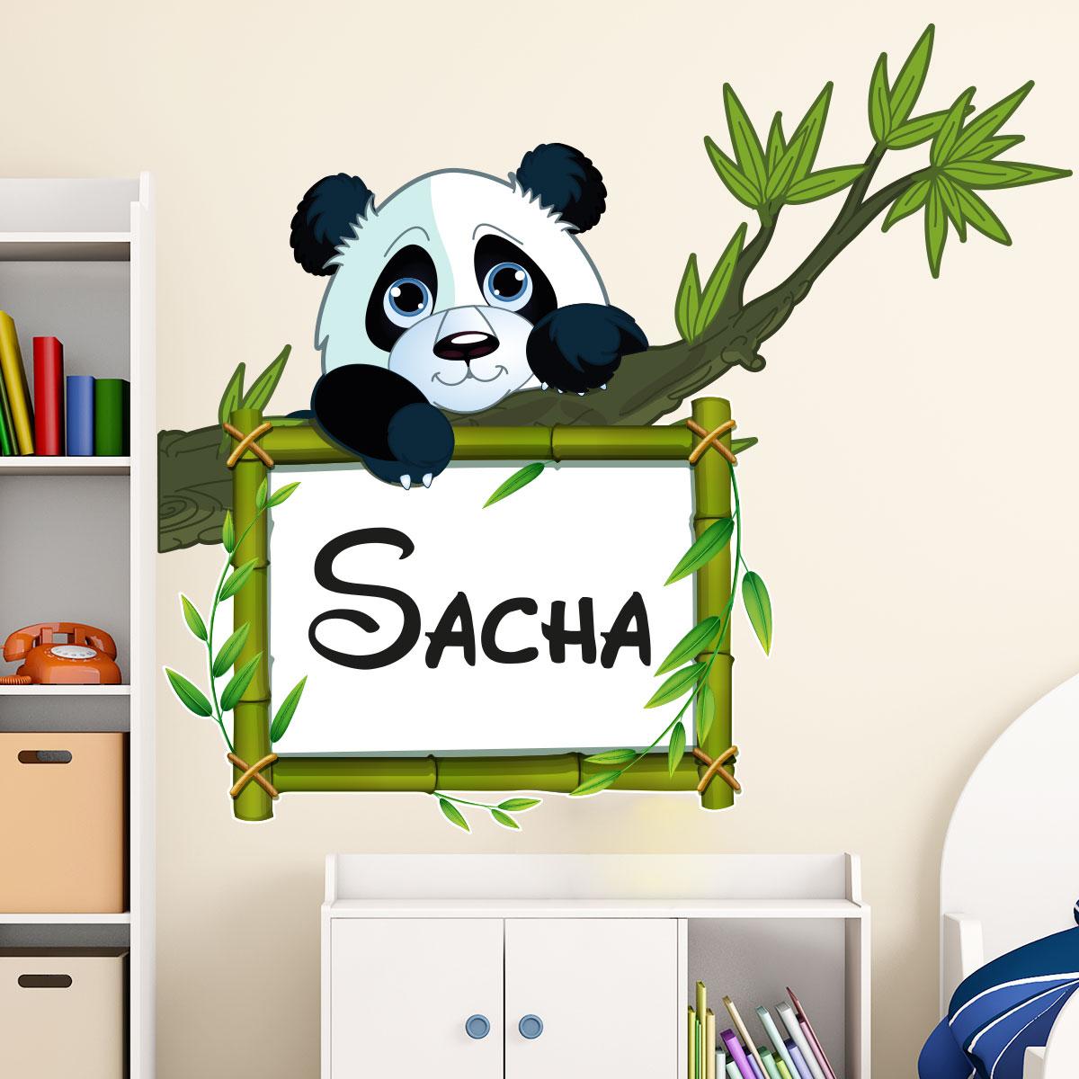 Vinilo nombres personalizable panda sobre su rama