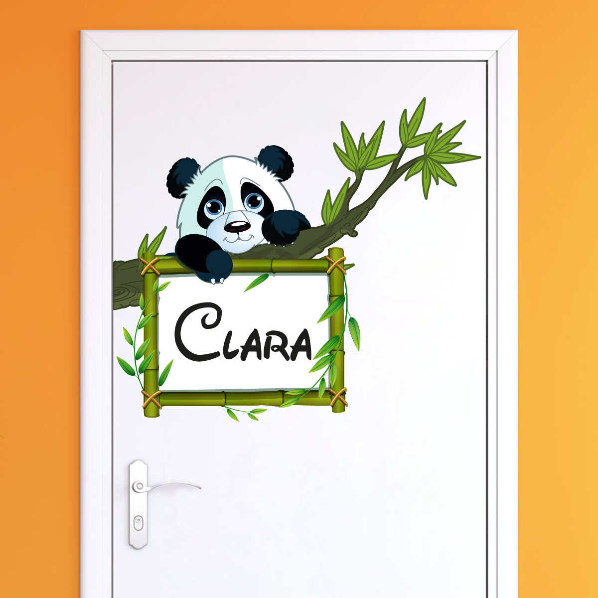 Sticker Prénom Personnalisé Panda Sur Sa Branche