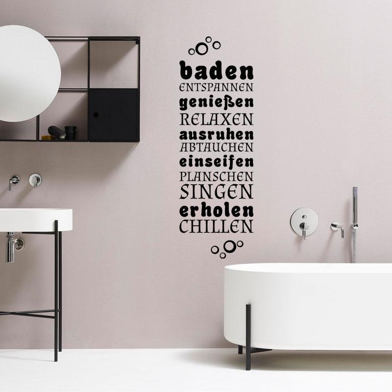 Sticker Salle De Bain Citation Baden Genieben Ausruhen