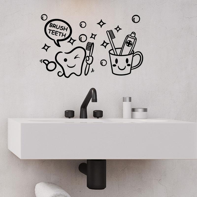 Sticker salle de bain citation brush teeth stickers - Stickers sur carrelage salle de bain ...