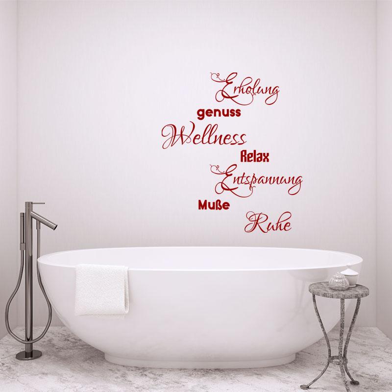 Sticker salle de bain citation enholung genuss relax - Stickers pour carreaux salle de bain ...