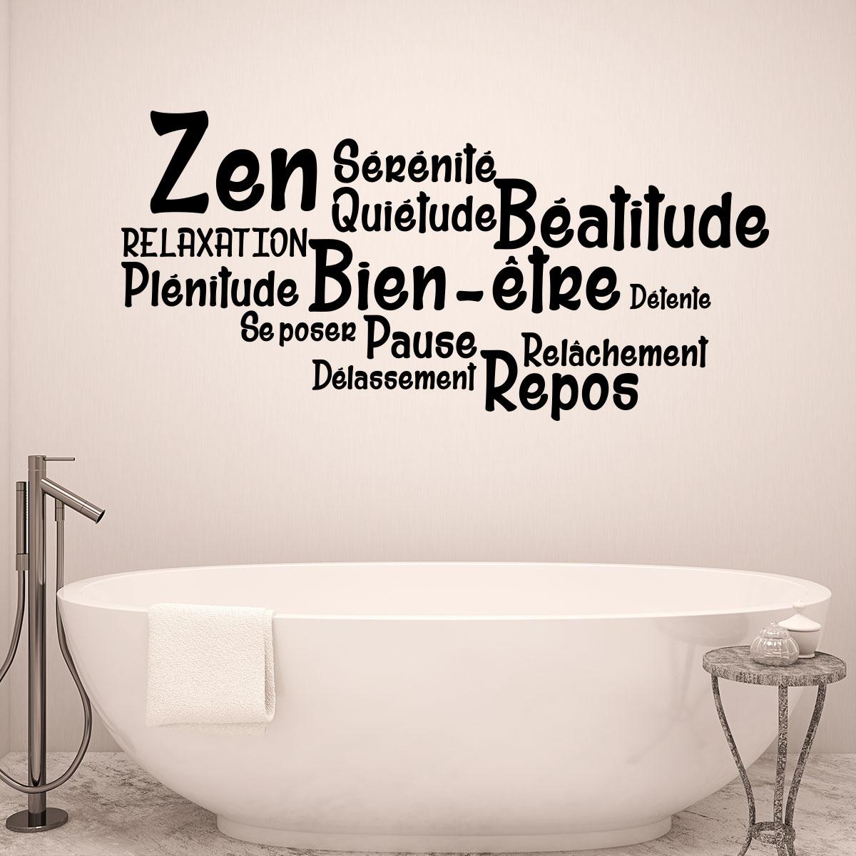 Sticker salle de bain citation zen, bien-être, repos