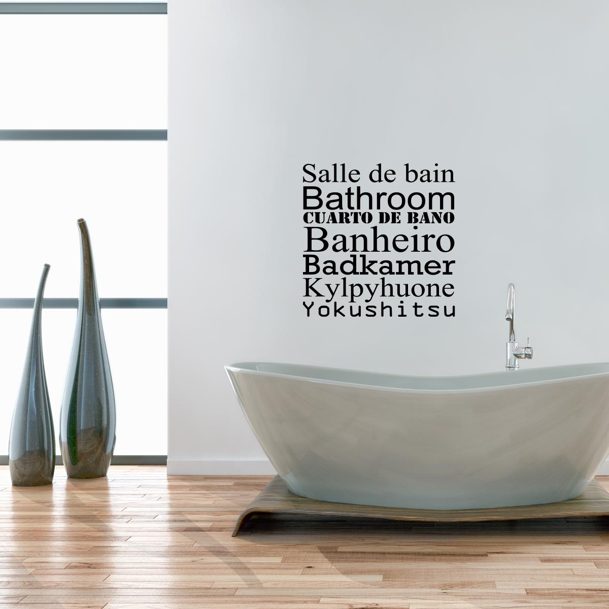 Sticker Salle De Bain En Six Langues Stickers Salle De Bain Et Wc