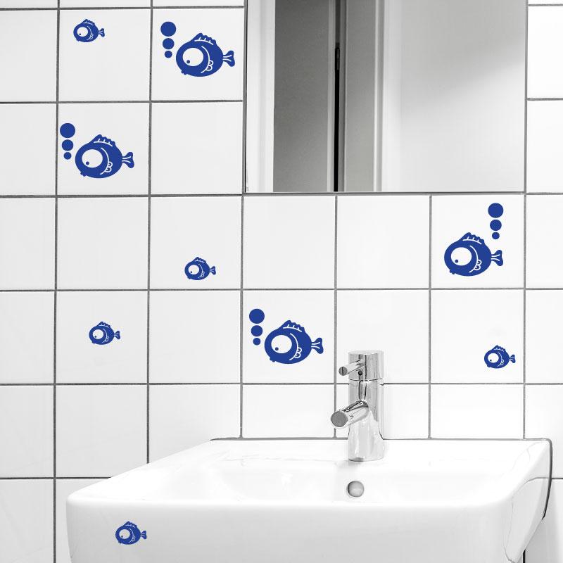 Sticker salle de bain groupe de poissons avec bulles stickers stickers animaux animaux marins - Stickers pour salle de bain sur carrelage ...