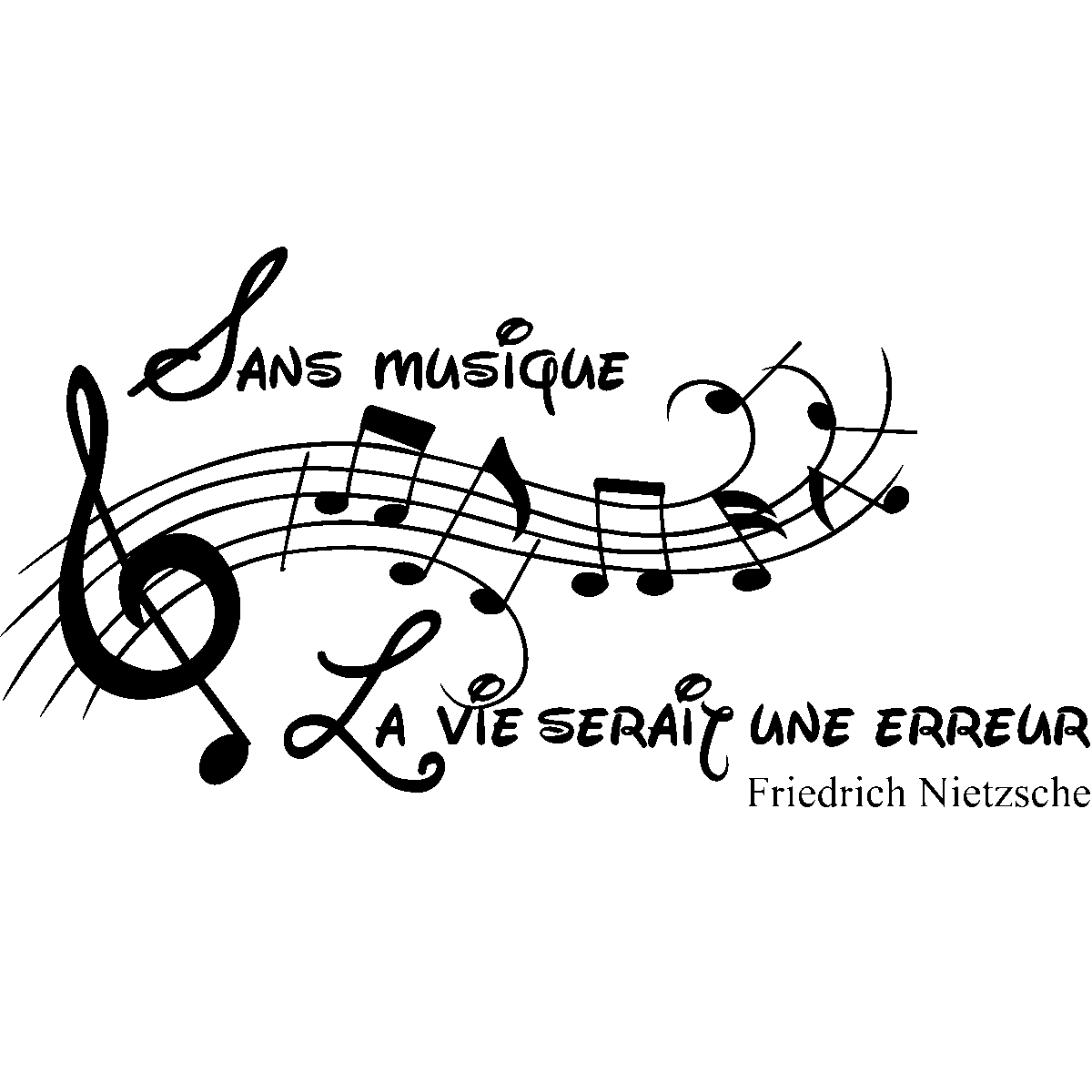 Stickers muraux musique - Sticker Sans la musique, la vie serait une erreur  - Friedrich