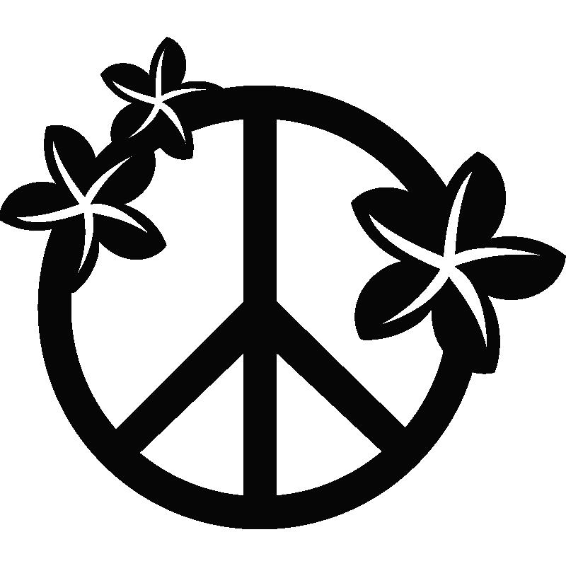 Stickers Avec Un Signe Hippie Avec Des Fleurs De Plumeria
