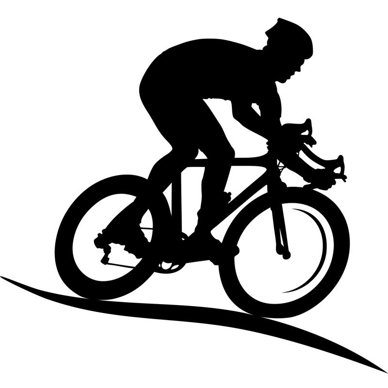 stickers sport et football sticker silhouette cycliste
