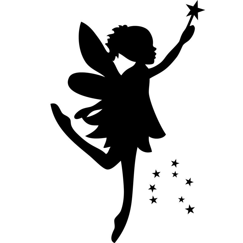 Sticker silhouette f e et baguette magique stickers - Fee clochette ombre ...